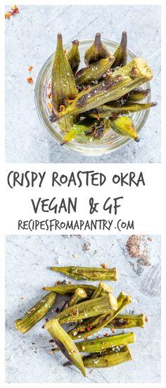 Easy crispy baked okra (roasted okra) – makes a great snack. Recipesfromapantry.com