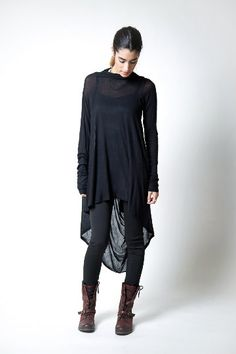NEW Black Tunic / Loose Fitting Top / Assymetrical by marcellamoda #black #dark #fashion
