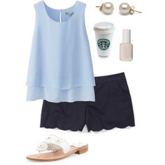 Summer preppy outfit by perfectlypreppy15 on Polyvore featuring Uniqlo, Club Monaco, Jack Rogers and Essie