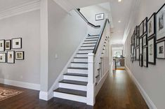 Pale grey paint for hallway family photo wall pale grey paint for hallway . pale grey paint for hallway Pale Grey Paint, Light Grey Paint Colors, Paint Colours, Neutral Paint, Wall Colors, Wooden Staircase Design, Wood Staircase, Staircase Molding, Interior Staircase