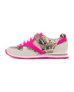 Walk on the wild side. MICHAEL Michael Kors Alexandra Neon Snake-Print Sneaker.
