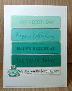Seize the Birthday: Winners for Teal and White! Simple Birthday Cards, Homemade Birthday Cards, Masculine Birthday Cards, Bday Cards, Birthday Cards For Men, Homemade Cards, Male Birthday, Masculine Cards, Paint Chip Cards