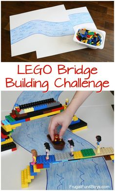 LEGO Bridge Building Challenge Do a LEGO Bridge Building Challenge! Fun STEM activity for kids, great for a LEGO club or library program.Do a LEGO Bridge Building Challenge! Fun STEM activity for kids, great for a LEGO club or library program. Steam Activities, Summer Activities, Preschool Activities, School Age Activities, Stem Preschool, Math Stem, Activities For Boys, Kids Activity Ideas, Space Crafts Preschool