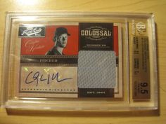 2011 Prime Cuts Colossal Mats Signs Card #7 Clayton Kershaw Auto #6/10 BGS 9.5 #LosAngelesDodgers