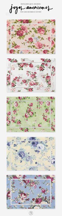 Detalhes que amamos para mesas de todos os tipos, como as mesas de chá que pedem delicadeza e que combinam com estampas florais. Os jogos americanos são da marca Couvert.