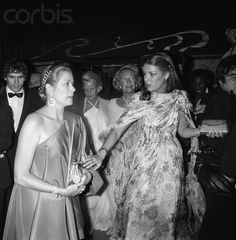 Princess Caroline and Princess Grace attend a gala dinner at Maxim's to celebrate Caroline's upcoming wedding to Philipe Junot. The photo was taken one week before her wedding.