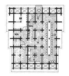 Shin Takasuga's 'Railway Sleeper House' in Miyakejima. 1970's. Plan  http://kaefersteinmeister.ch/fileadmin/autoren/pdfs/Publikationen_Presse/Threads_of_the_net.pdf