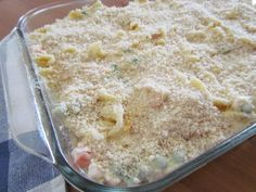 This Easy Chicken Noodle Casserole is made with egg noodles, chicken breast, a creamy, tasty filling and topped with buttered bread crumbs! Dinner Casserole Recipes, Soup Recipes, Chicken Recipes, Recipies, Dinner Recipes, Chicken Treats, Easy Recipes, Vegan Recipes, Slow Cooker Recipes