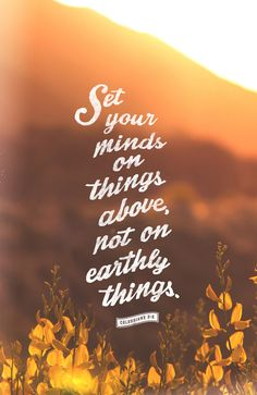 Since, then, you have been raised with Christ, set your hearts on things above, where Christ is, seated at the right hand of God. Set your minds on things above, not on earthly things.  (Colossians 3:1, 2 NIV)