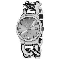 Akribos XXIV Impeccable Diamond Swiss Quartz Twist Chain Bracelet Ladies Watch (W-AK608SS)