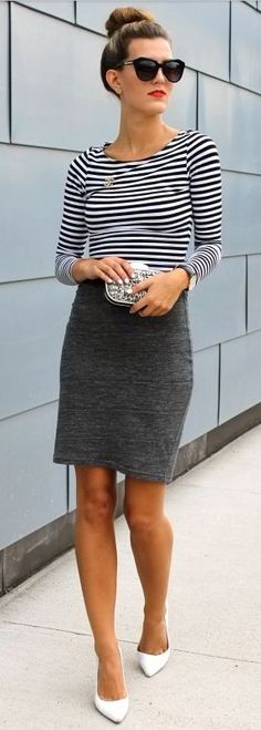 Pencil skirt + stripes. hair bun love sunglasses