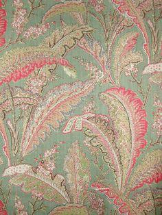 palmette | Palmette Green 3425C Paisley feathers designed by ariadne fabric