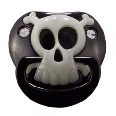 "A My Baby Rocks best seller! This pacifier is a MUST for every punk rock baby. This black pacifier features a glow in the dark skull & crossbones pirate design. If ""punk"" isn't your thing for day-to-d Source by Clothing Punk Rock Baby, Baby Design, Baby Kalender, Goth Baby Clothes, Funny Pacifiers, Gothic Baby, Baby Bats, Pirate Skull, Glow"