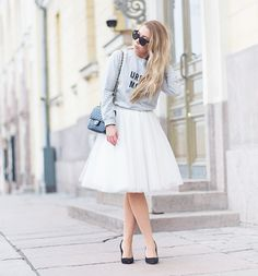 lightweight jacket with white tulle skirt 2017