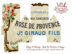 Wings of Whimsy: Perfume Cottage No 7: Rose De Provence #vintage #freebie #printable #ephemera #perfume #label #rose