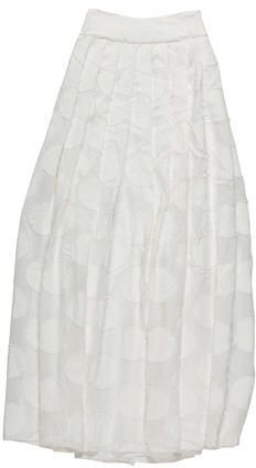 Alice + Olivia Spring 2015 Maxi Skirt -- From the Spring 2015 Collection. Sample Item. White Alice + Olivia pleated maxi skirt with raw-edge polka dot appliqué throughout and exposed back zip closure.