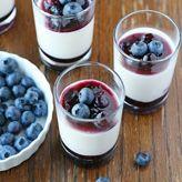 Delicious, creamy yogurt panna cotta with sweet blueberry sauce. I love panna cotta, but isn't it like saying goodbye to my waist? Köstliche Desserts, Delicious Desserts, Dessert Recipes, Yummy Food, Tasty, Layered Desserts, Plated Desserts, Recipes Dinner, Yummy Yummy