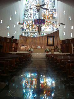 Santuario Deocesano de Santa Maria De Guadalupe. Coatzacoalcos, Veracruz, Mexico. Construction begun in 1977, consecration in 1988.    Church, stained glass, altar, sanctuary, Catholic, Mexican
