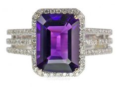 Impressive Natural Large GEM Grade Amethyst set in 14 kt White Gold with Lots of Pave Diamonds Purple Love, All Things Purple, Purple Rain, Shades Of Purple, Deep Purple, Purple Candy, Purple Stuff, Amethyst And Diamond Ring, Amethyst Jewelry