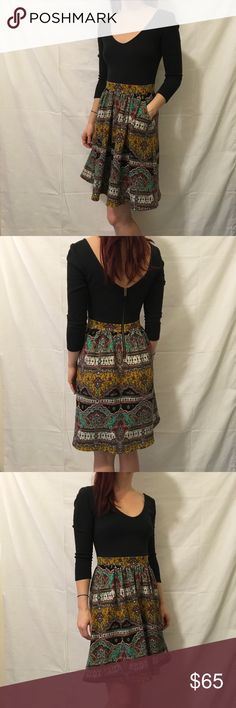 Maeve Anthropologie Paisley Knee Length Dress Maeve Anthro - cute black top dress with a printed Paisley bottom and is knee length! Very cute and soft- zipper closure and is a size 2. Worn only twice! Anthropologie Dresses Midi