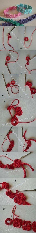 Sweet and easy-to-make Crochet bracelet.