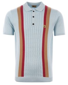 1f9b52f79 Gabicci Vintage TURNEY Knitted Polo Mist Style V42GM05 The Turney Racing  Stripe polo from the Gabicci