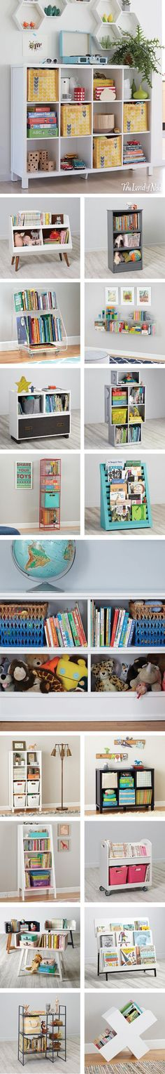 There's only one piece of kids furniture that'll clear the clutter—a bookcase! The Land of Nod's exclusive lineup of kids bookcases features tons of styles for the playroom or workspace. Each piece has ample room to hold their favorite toys, books and mor Bookshelves Kids, Book Shelves, Bookshelf Ideas, Open Shelves, Wall Shelves, Toy Storage, Storage Ideas, Storage Shelves, Cube Storage