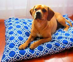 Dog Bed Blue & White Sz Medium / Large by PuppyPillowsPlus on Etsy, $49.95