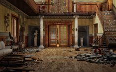 Grand Entry Hall now in ruins. This must have been beautiful when it was new.
