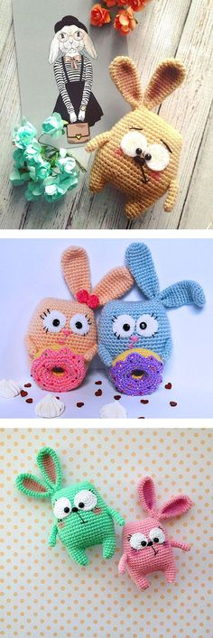 Bunnies made with the help of this free pattern >> https://amigurumi.today/bunny-with-donut-crochet-pattern/: