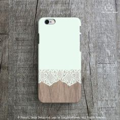 « Pale Mint Lace on Wood »  This iPhone case features our original design and will be individually hand-printed in our studio upon receiving
