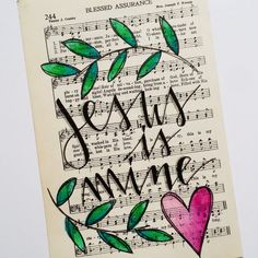 Hand Painted Vintage Hymn Page - Blessed Assurance