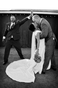 Best Man Moment Photo by Myle Collins Mylestone Photography Wedding portrait, wedding pictures, wedding pose, bride and groom with best man, best man high five