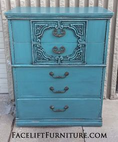 Ornate Chest of Drawers in distressed Sea Blue with Black Glaze. From Facelift Furniture's Chests of Drawers collection.