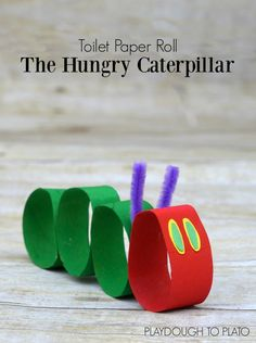 Transform the hungry caterpillar from The Very Hungry Caterpillar into a craft for kids using toilet paper rolls.