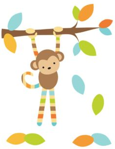 """Mod Jungle Monkey Wall Art Mural Decal for baby boy nursery or children's bedroom decor. Wall mural measures 16.5"""" Wide and 21.5"""" Tall #decampstudios"""