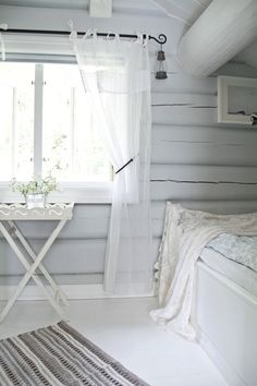 Ethereal white and grey summer cottage bedroom. Cottage In The Woods, White Cottage, Cottage Interiors, Cottage Homes, Wooden Cottage, My Ideal Home, Living Styles, White Paneling, White Decor