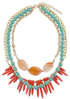 Three rows of boho goodness & bright colors | Turquoise and Coral Paleo Necklace | jewelboxonline.com