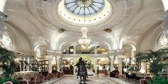 World Best Hotels, Monte Carlo, Monaco, Hotel de Paris lobby and the equestrian statue of Louis XIV Monte Carlo Monaco, Lounge Design, Design Entrée, Interior Design, Design Ideas, Hotel Lobby Design, Most Luxurious Hotels, Best Hotels, Luxury Hotels