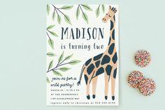 Wild Giraffe Children's Birthday Party Invitations by Everett Paper Goods at minted.com
