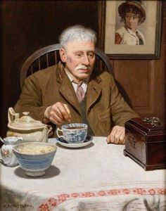 Artwork by Charles Spencelayh, The Old Tea-Caddy, Made of oil on canvas laid down