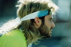 Tennis star Andre Agassi and his stick on mullet hairstyle.