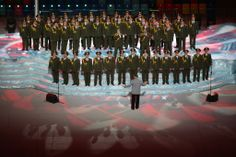 A military group sang in the preshow. Chang W. Lee/The New York Times