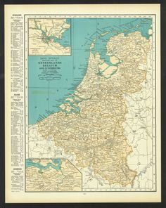 vintage map netherlands belgium luxembourg by manyplacesmaps