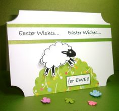 Handmade Happy Spring Sheep stamped Easter Card £2.00