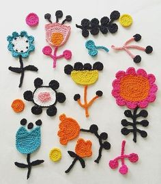 We're starting off the week with a dose of color in the beautiful crochet illustrations by Textile artist Tuija Heikkinen. Crochet Wall Art, Crochet Diy, Freeform Crochet, Crochet Home, Crochet Motif, Crochet Geek, Crochet Potholders, Tutorial Crochet, Crochet Flower Patterns
