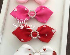 Valentine bows,heart bows,fabric bows,kanzashi bow,ribbon bows,hair clip bows,headband bow,organza bows,scrapbooking bow,embellished bow.