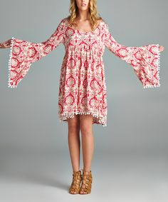 Bell sleeve!!!! Love   Love this VELZERA Baby Pink Damask Bell-Sleeve Dress - Plus by VELZERA on #zulily! #zulilyfinds