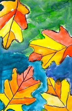 Warm leaves, cool skies   This is cool. you could trace the leaves you have already cut out with a black crayon then paint with watercolors.