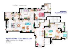 """. The apartments of Will Truman, Grace Adler and Jack MacFarland from the show """"Will & Grace"""". Some sets have changed throughout the different seasons and this floorplan is a mixture of various of them. This is a hand drawed plan, in scale, coloured with colour pencils and with full details of furniture, fabric, timbers and complements. . If you want to buy an original drawing, especially handmade for you, contact me at mailto:ializar@hotmail.com or visit my ETSY store. ."""